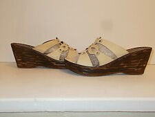 Womens Leather Mushulu Colours Wedge Mule Sandal Shoes. Size UK 8, EU 42