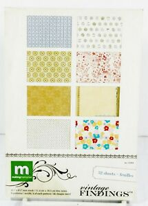 Vintage Findings 4.5 x 6.5 Mat Stack 32 Page Paper Pack Scrapbook Card Making