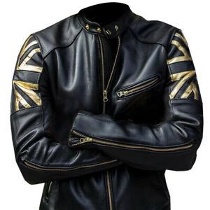 Vintage Men Union Jack UK Flag Cafe Racer Gold Strip Biker Black Leather Jacket