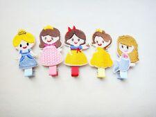 5PCS/lot Handmade Embroidery princess Hair Clip Kids Cartoon Baby Girl Hairpins