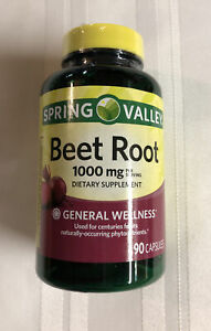 Spring Valley Beet Root Capsules, 1,000mg per Serving, 90ct Exp 8/23