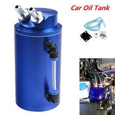 Universal Cylinder Car Oil Catch Reservoir Tank Can Breather Kit Aluminum Blue