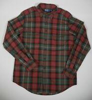 Vintage Ralph Lauren Polo Plaid Wood Pocket Button Up L/S Shirt Mens Sz L RARE