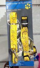 Lot jaune Collier réglable 15mm x 25-40cm et Laisse mousqueton 120cm pour chien