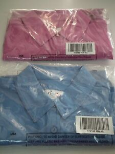 QVC 2 x Denim & Co. Solid Crepe Short Sleeve Blouses Shirts Pink & Blue Size S