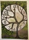 ACEO Landscape Surreal Tree Clock Time Original Motyl Painting