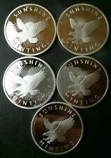 Lot of Five Sunshine Minting 1oz Silver Eagle Rounds