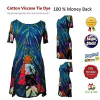 Festival Summer Tie Dye dress Boho Hippy Cotton Viscose Size 8-14 Brand New tags