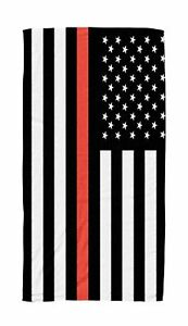 """FIREFIGHTER THIN RED LINE FLAG BEACH TOWEL 30"""" x 60"""""""