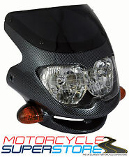 UNIVERSAL MOTORCYCLE MOTORBIKE (STREETFIGHTER STYLE) FAIRING HEADLIGHT CARBON