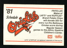 Baltimore Orioles--1981 Pocket Schedule--Frito Lay