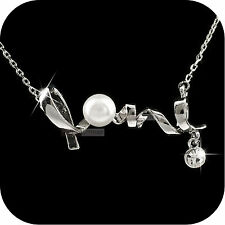 18k white gold made with SWAROVSKI crystal pearl pendant necklace