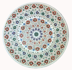 """36"""" round White Marble center Table Top inlay semi precious stones floral art"""
