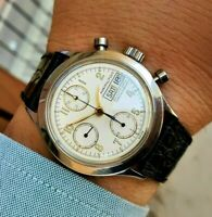 Hamilton 9941 Chronograph Military Day Date Valjoux 7750 White Dial Vintage 39mm