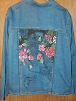 Vintage Womens size 3X Lee blue denim cotton with roses trucker jean jacket