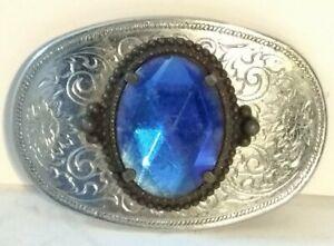 Vintage Retro Solid Metal Belt Buckle BIG BLUE GLASS RHINESTONE SILVERTONE ETCH