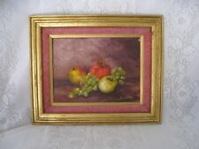 Antique Painting Oil on Canvas - Still Life Apples & Grapes Signed Kris Gentile