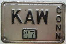 Connecticut 1947 VANITY License Plate KAW