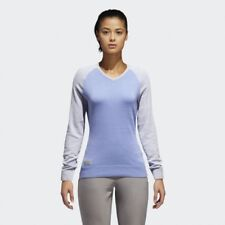 Adidas Womens Size Medium M Golf Sweater Long Sleeve Heather Purple Lilac V Neck