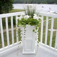 16-In Square Outdoor Garden Plants Flower Plastic Column Planter Pot White New