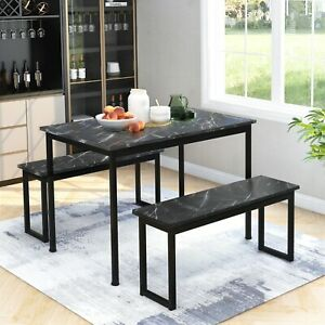 Kitchen Dining Table and 2 Bench Set Solid Wooden & Sturdy Metal Frame