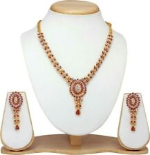 Indian Bollywood Fashion Wedding Gold Plated Party Necklace Earrings Set PINK