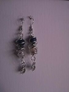 Handmade Earings Wirewrapped With stone beads and charms
