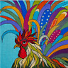 Needlepoint HandPainted JP Needlepoint Rooster 9x9