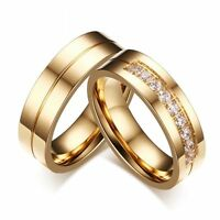 Love AAA CZ Cubic Zirconia 18K Gold Plated Stainless Steel Wedding Band Ring