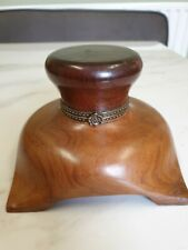 vintage wood and brass large inkwell
