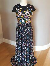 4992df45cd998 TED BAKER Embroidered Floral Mariz Maxi Dress Black Long Size 3 UK 12 BNWT
