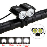 NEW SolarStorm 6000 LM 2x CREE T6 LED Front Bicycle Light Bike Headlight Black