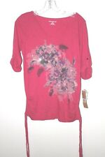 NEW DKNY SEQUIN Shirt Top Tunic Floral 3/4 Sleeve Hot Pink Small