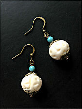 Handmade Earrings White Carved Bone Beads Antique Copper Blue Turquoise Jewelry