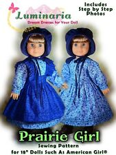 """Dress Pattern With Bonnet. Fits 18"""" American Girl, Tonner My Imagination Dolls"""