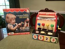 Vintage Fisher Price Cash Register #972 1964 Wooden Classic  WITH COINS & BOX!