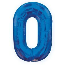 """Large Jumbo Blue Metallic Number 0 Foil Helium Balloon 34""""/87cm (Not Inflated)"""