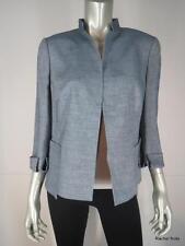 NWT $3000 AKRIS 12 L Wool Linen Blue Colomba Jacket Blazer Career Work Large NEW