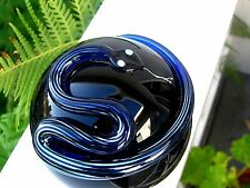 "Amazing CORREIA BLUE/SILVER STRIPED SNAKE PAPERWEIGHT: 3"", Signed, Numbered,1986"