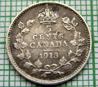 CANADA GEORGE V 1913 5 CENTS, SILVER