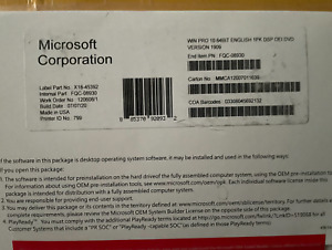 WINDOWS 10 64 BIT DVD WITH PRODUCT KEY SEALED FULL VERSION  PRO