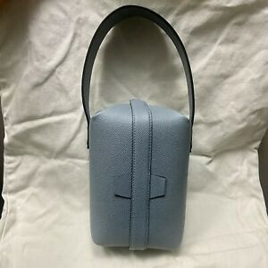 New $1650 Valextra Tric Trac Leather Box Bag with Top Handle dusty Blue
