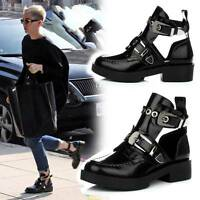 Punk Cowboy Buckle Women's Cut Out Mid Chunky Heels Stylish Combat Ankle Boots