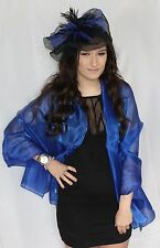 Royal Blue Metallic look Large Organza ball wrap Shawl Stole Evening Scarf Dance