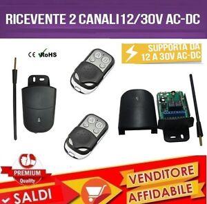 Kit Receptor 2 Canales 7A 12-30V AC/Dc + 2 Mandos Puertas Persianas Luces
