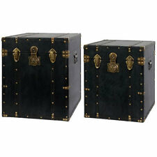 Parker Wood Trunk w/ Leather Cover Set Of 2 - 33577