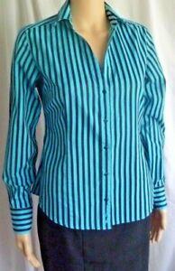 Ben Sherman  womens blue/black stripe shirt size S / 10  FREE POST