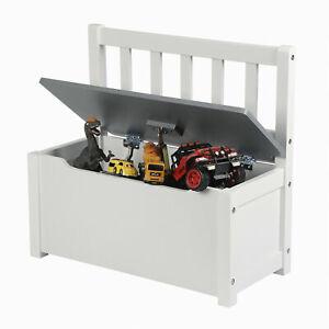 Kinder Truhenbank Sitzbank für Kinder Kindermöbel Spielzeugkiste aus MDF Grau