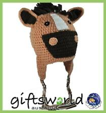 Horse Head Character Hand Made Beanie Crochet Knit Hat, Girl's, Boy's One Size