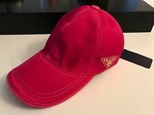 NEW PRADA MILANO FUCHSIA PINK TECHNO NYLON 100% COTTON CAP HAT UNISEX M